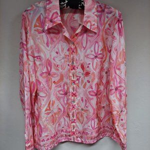 Sigrid Olsen Collection Silk Top Button Up Shirt